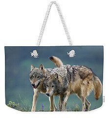 Gray Wolves Weekender Tote Bag by Tim Fitzharris