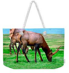 Grazing Elk Weekender Tote Bag by Sadie Reneau