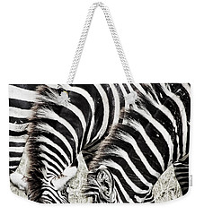 Grazing Zebras Close Up Weekender Tote Bag by Darcy Michaelchuk