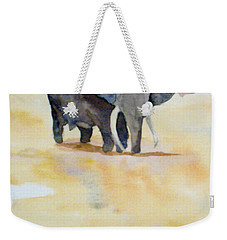 Weekender Tote Bag featuring the painting Great African Elephant  by Vicki  Housel