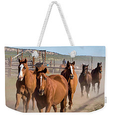 Great American Horse Drive - Coming Into The Corrals Weekender Tote Bag
