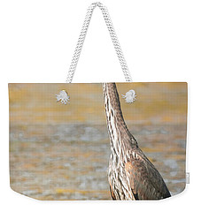 Weekender Tote Bag featuring the photograph Great Blue At The Flats by Robert Frederick