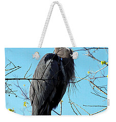 Weekender Tote Bag featuring the photograph Great Blue Heron 001 by Chris Mercer
