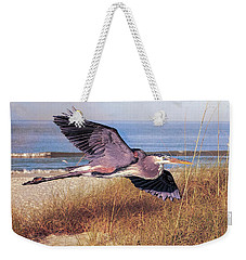 Great Blue Heron At The Beach Weekender Tote Bag by Brian Tarr
