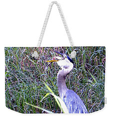 Great Blue Heron Eating A Fish Weekender Tote Bag