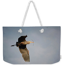 Weekender Tote Bag featuring the photograph Great Blue Heron In Flight by Ann Bridges