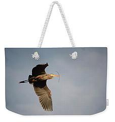 Great Blue Heron In Flight Weekender Tote Bag by Ann Bridges