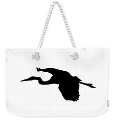 Great Blue Heron In Flight Silhouette Weekender Tote Bag