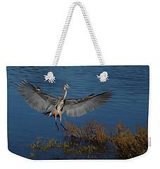 Great Blue Heron Landing Weekender Tote Bag by Ernie Echols