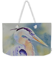 Weekender Tote Bag featuring the painting Great Blue Heron by Mary Haley-Rocks