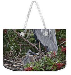 Great Blue Heron Nestling Weekender Tote Bag