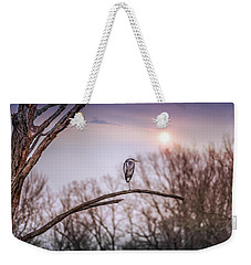 Great Blue Heron On A Dead Tree Branch At Sunset Weekender Tote Bag