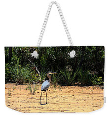 Weekender Tote Bag featuring the photograph Great Blue Heron On Beach by Sheila Brown
