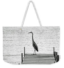 Great Blue Heron On Dock - Keuka Lake - Bw Weekender Tote Bag by Photographic Arts And Design Studio