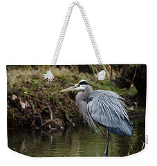 Weekender Tote Bag featuring the photograph Great Blue Heron On The Watch by George Randy Bass