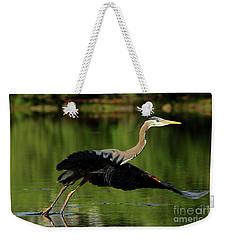 Great Blue Heron - Over Green Waters Weekender Tote Bag