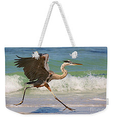Great Blue Heron Running In The Surf Weekender Tote Bag by Myrna Bradshaw