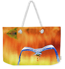 Weekender Tote Bag featuring the digital art Great Blue Heron Winging It Photo Art by Sharon Talson