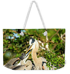 Great Blue Herons Adult With Young Weekender Tote Bag