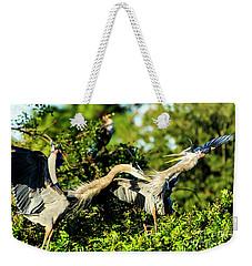 Great Blue Herons In Battle Weekender Tote Bag