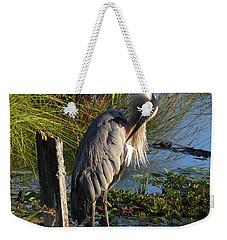 Weekender Tote Bag featuring the digital art Great Blue by I'ina Van Lawick