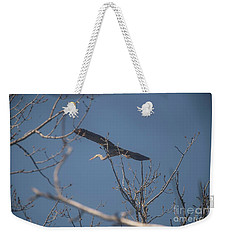 Weekender Tote Bag featuring the photograph Great Blue In Flight by David Bearden