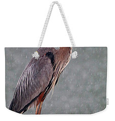 Great Blue In The Rain Weekender Tote Bag