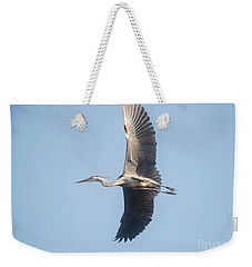 Weekender Tote Bag featuring the photograph Great Blue On Final by David Bearden