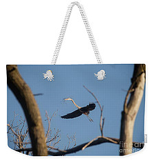 Weekender Tote Bag featuring the photograph Great Blues Nesting by David Bearden