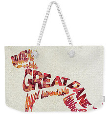 Weekender Tote Bag featuring the painting Great Dane Watercolor Painting / Typographic Art by Ayse and Deniz