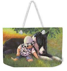 Weekender Tote Bag featuring the painting Great Dane With Baby by Nancy Lee Moran