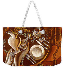 Weekender Tote Bag featuring the painting Great Dining by Leon Zernitsky