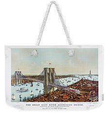 Great East River Suspension Bridge 1892 Weekender Tote Bag by Carsten Reisinger