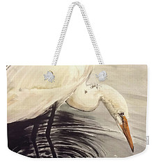 Great Egret , Mirror Weekender Tote Bag by Annie Poitras