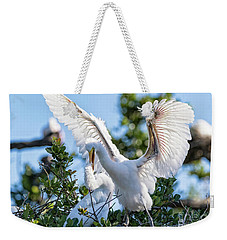 Great Egret Bullying Chick Weekender Tote Bag