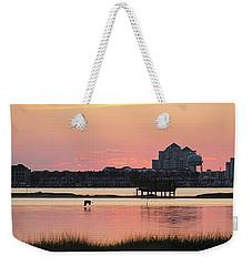 Great Egret Flies At Dawn Weekender Tote Bag