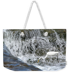 Great Egret Hunting At Waterfall - Digitalart Painting 1 Weekender Tote Bag