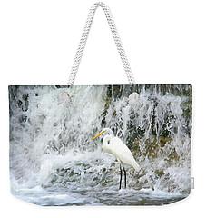 Great Egret Hunting At Waterfall - Digitalart Painting 2 Weekender Tote Bag