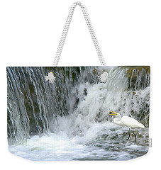 Great Egret Hunting At Waterfall - Digitalart Painting 3 Weekender Tote Bag