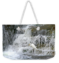 Great Egret Hunting At Waterfall - Digitalart Painting 4 Weekender Tote Bag