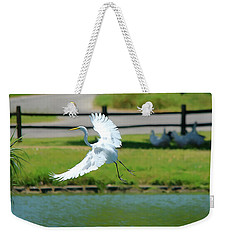 Great Egret In A Left Banking Turn - Digitalart Weekender Tote Bag
