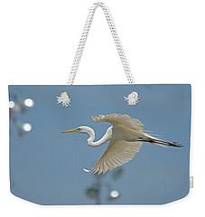 Great Egret In Flight And Flood Lighting Weekender Tote Bag