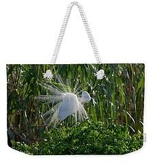 Great Egret In Flight With Windy Plumage Weekender Tote Bag