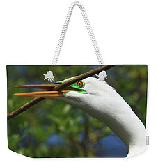 Great Egret In Green Weekender Tote Bag