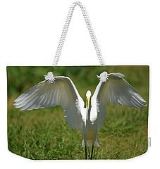 Great Egret In Unusual Portrait Weekender Tote Bag