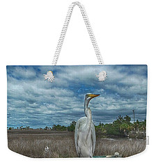 Weekender Tote Bag featuring the photograph Great Egret by Judy Hall-Folde