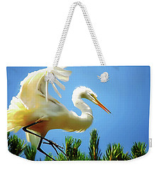 Great Egret Preparing For Treetop Landing 3 - Digitalart Weekender Tote Bag