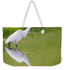 Weekender Tote Bag featuring the photograph Great Egret Ready To Pounce by Ricky L Jones