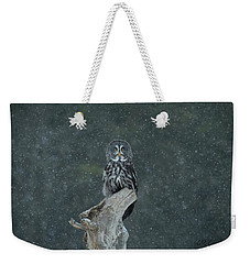 Great Gray Owl In Snowstorm Weekender Tote Bag by CR Courson