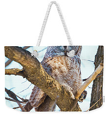 Great Gray Owl Weekender Tote Bag by Ricky L Jones